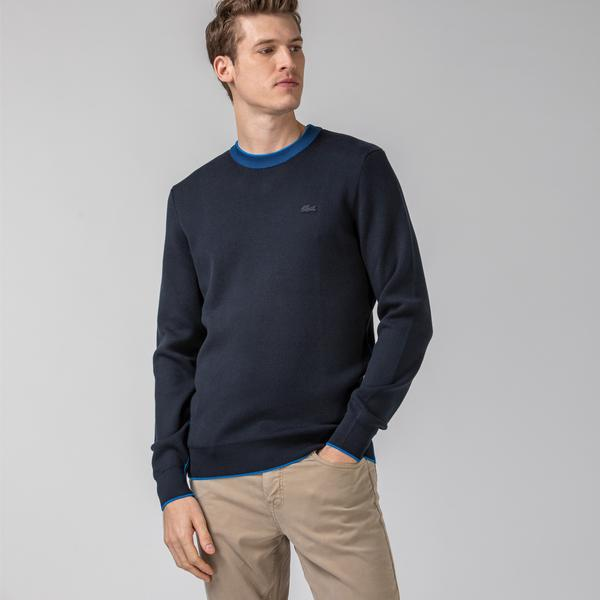 Lacoste Men's Contrast Piped Organic Cotton Sweater