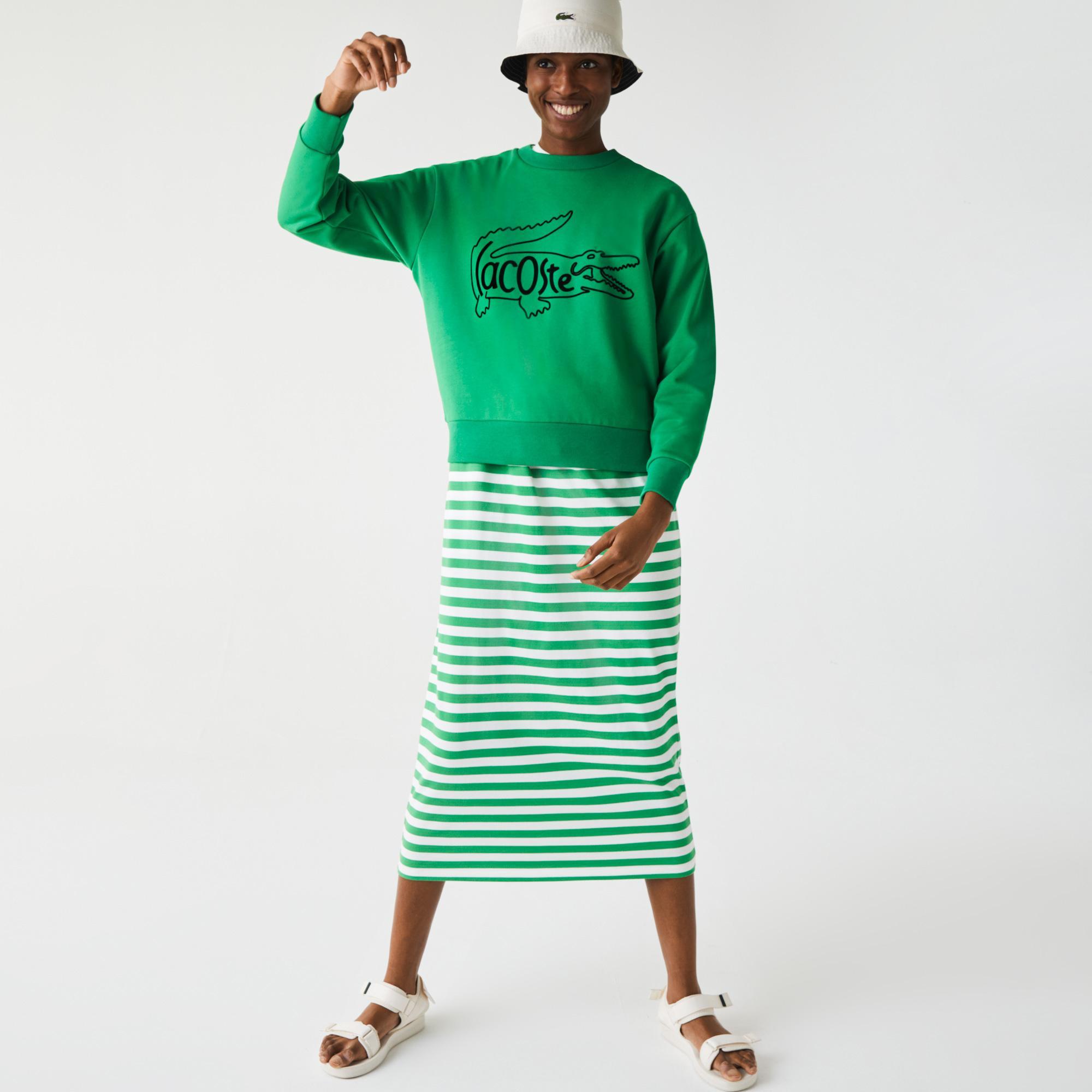 Lacoste Women's Crew Neck Crocodile Print Cotton Fleece Sweatshirt