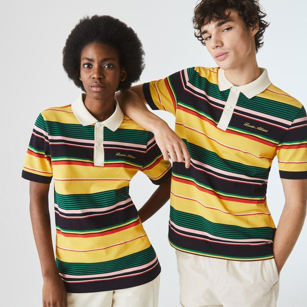 Lacoste L!VE Unisex Embroidered Striped Cotton Piqué Polo