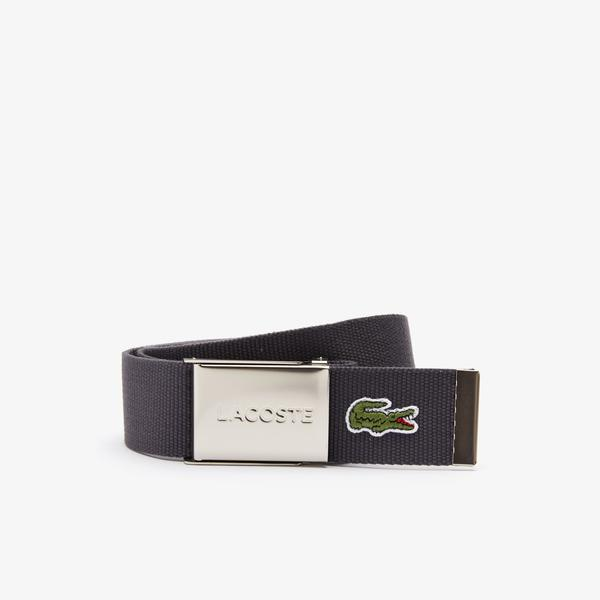 Lacoste Men's Made İn France Lacoste Engraved Buckle Woven Fabric Belt