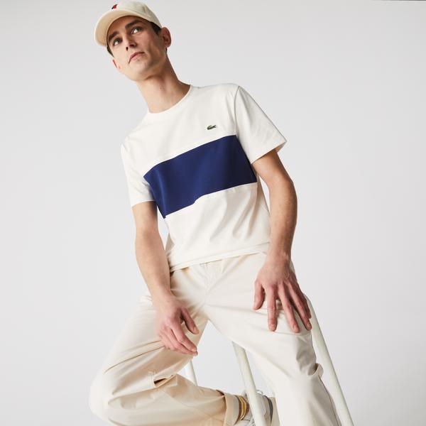 Lacoste Men's Crew Neck Piqué Panel Cotton T-shirt