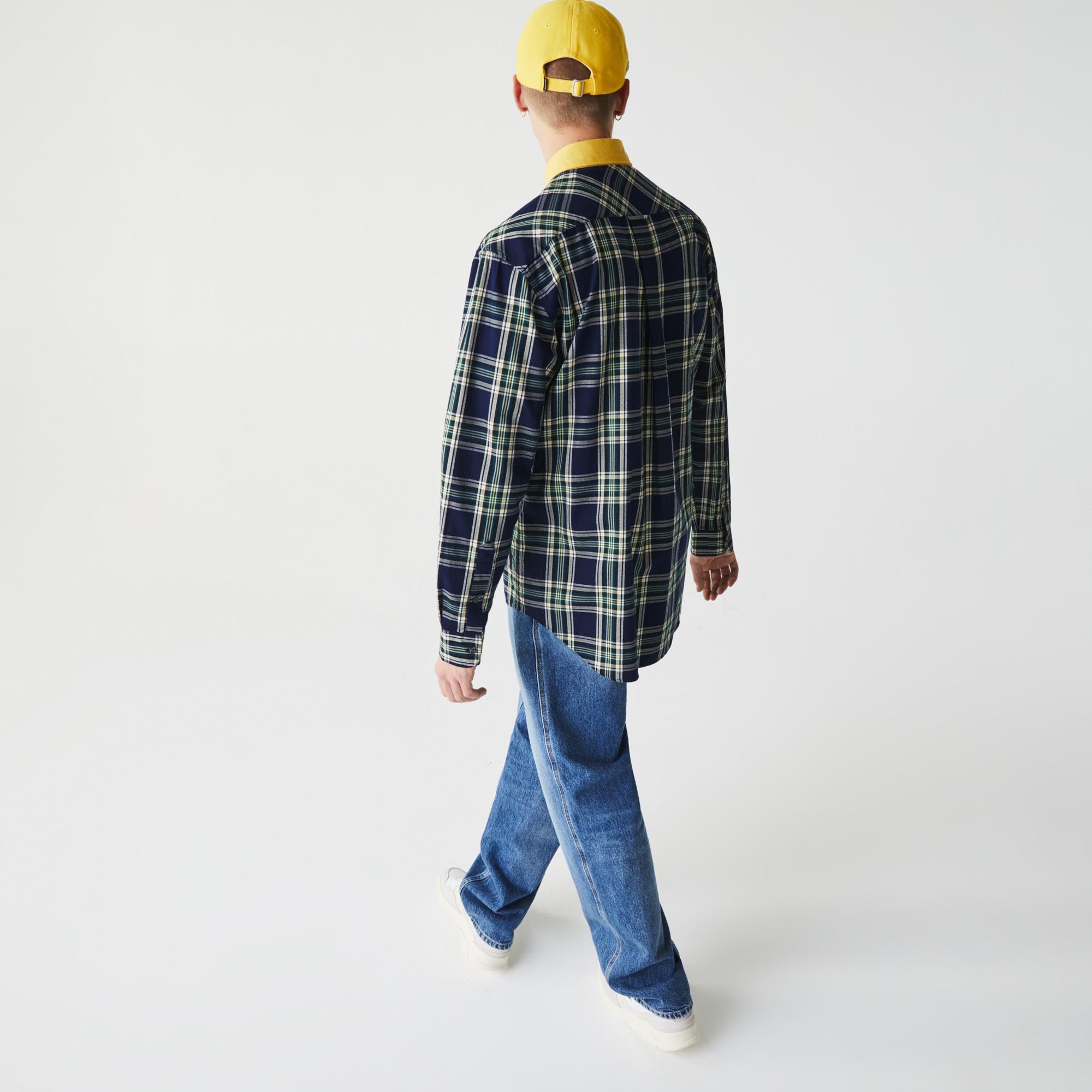 Lacoste L!VE Unisex Boxy Fit Check Cotton Shirt