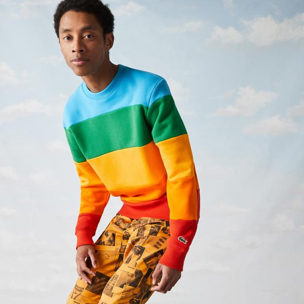 Lacoste x Polaroid Men's Colour Striped Fleece Sweatshirt