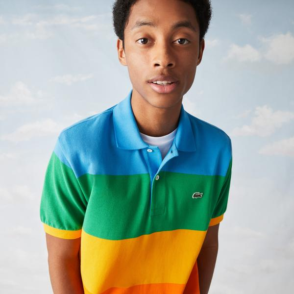 Lacoste x Polaroid Men's Colour Striped Classic Fit Polo Shirt