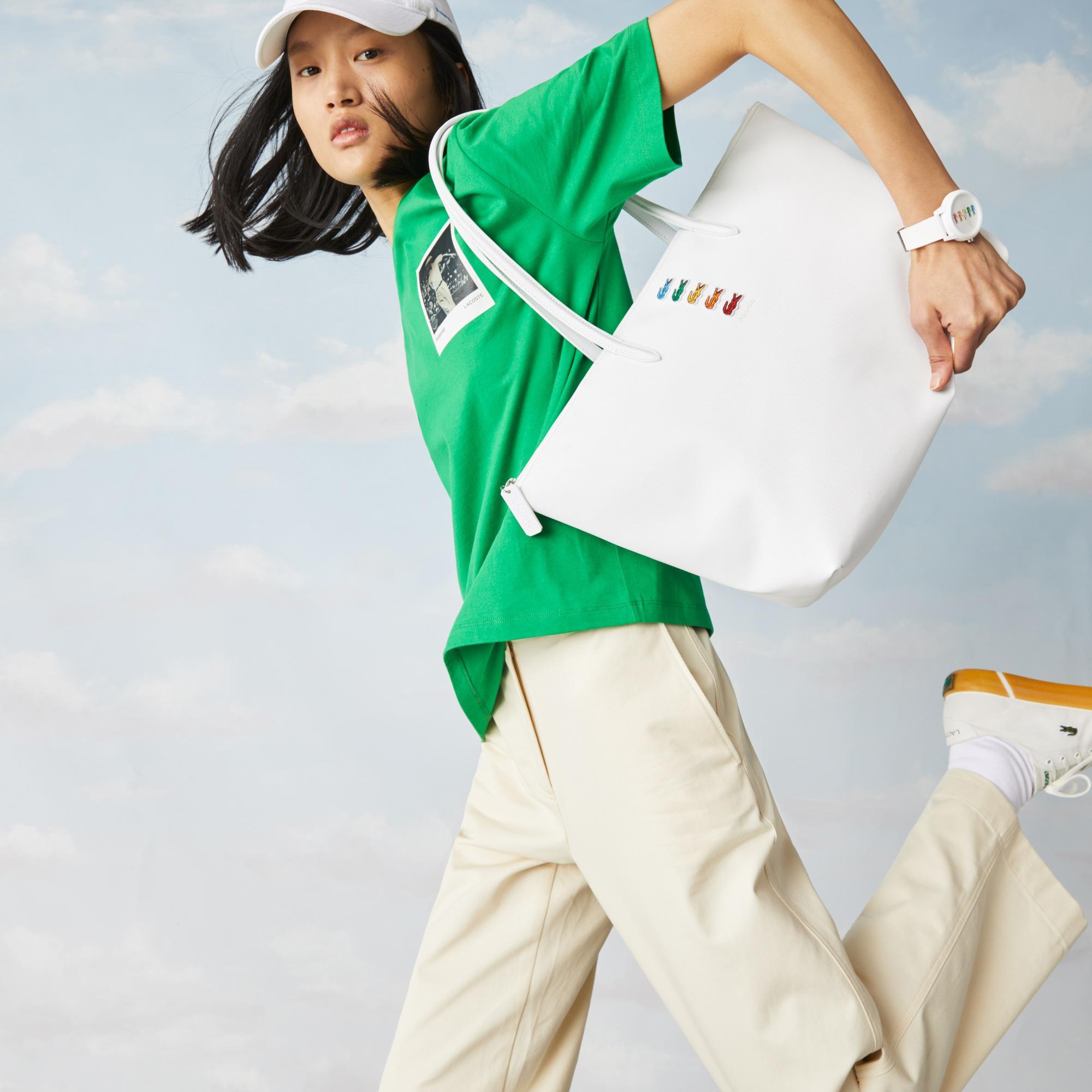 Lacoste x Polaroid Women's Multicolour Crocodiles Tote Bag