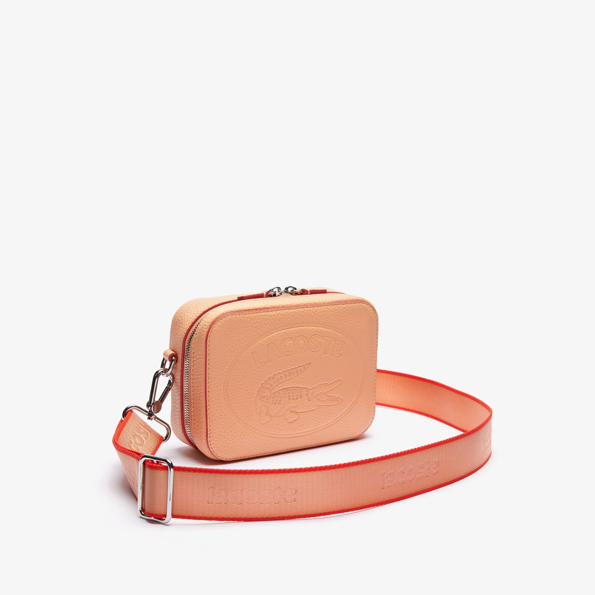 Lacoste Women's Croco Crew Detachable Shoulder Strap Grained Leather Bag
