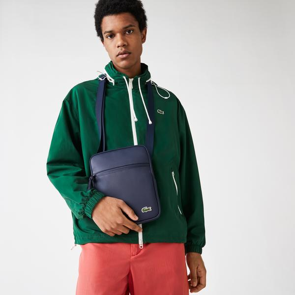 Lacoste Men's LCST Piqué Canvas Flat Zip Crossbody Bag