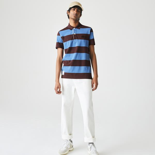 Lacoste Men's Regular Fit Striped Cotton Piqué Polo Shirt