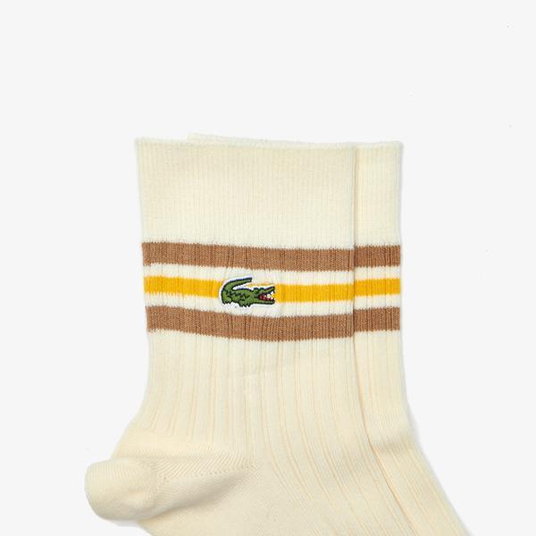 Lacoste Men's Heritage Sport Striped Ribbed Socks