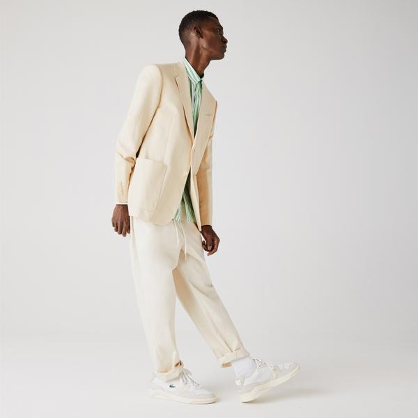 Lacoste Men's Straight Fit Cotton And Linen Blend Blazer