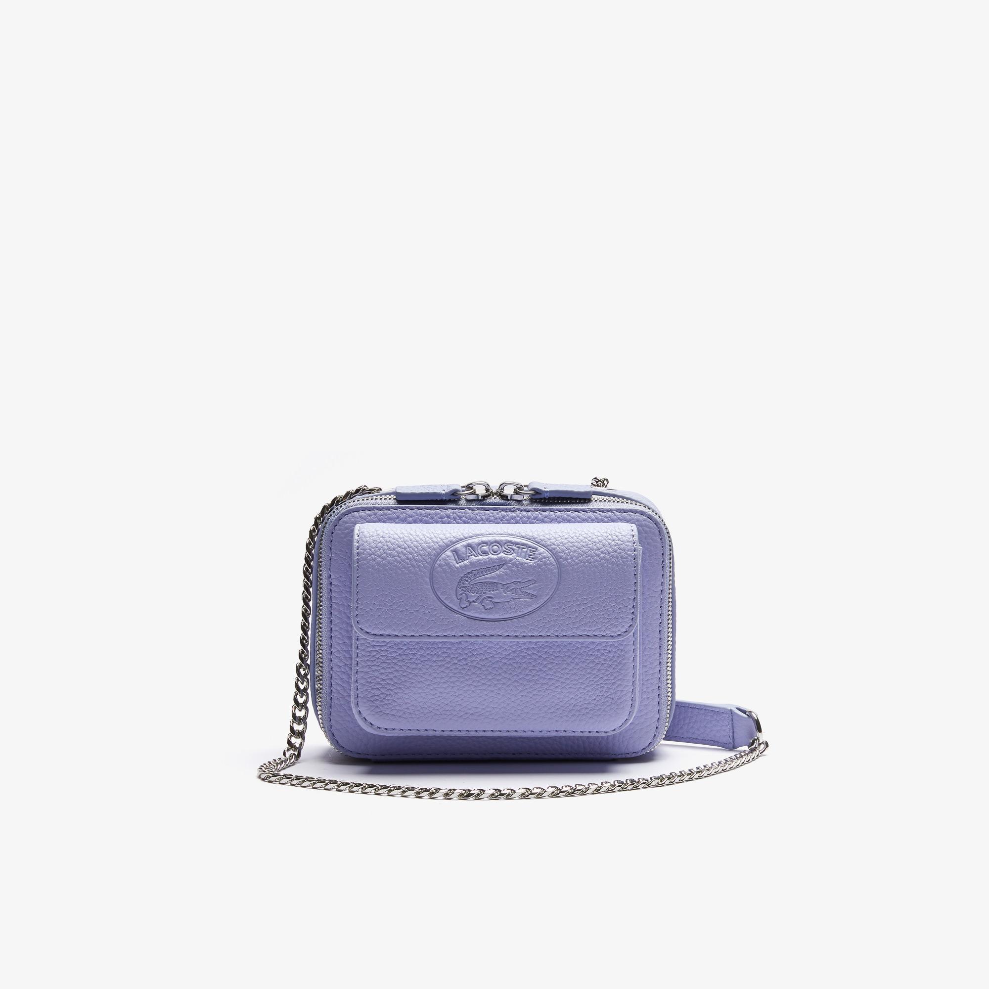 Lacoste Women's Croco Crew Grained Leather Zip Mini Shoulder Bag