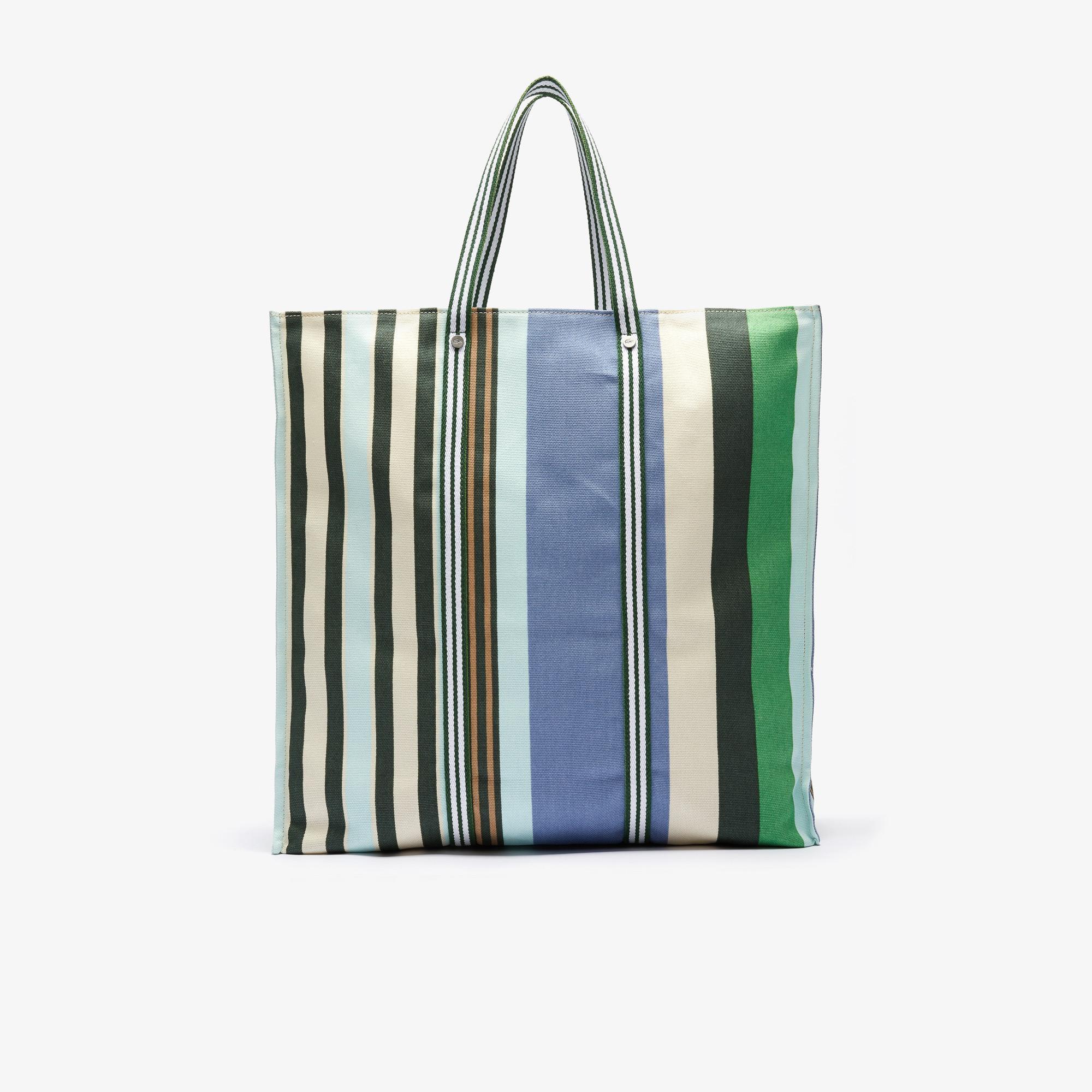 Lacoste Women's Striped Cotton Canvas Tote Bag