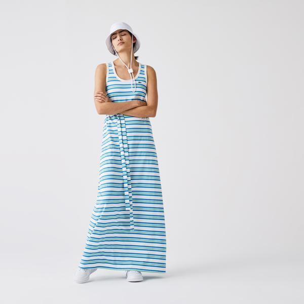 Lacoste Women's Long Striped Cotton Tank Top Dress