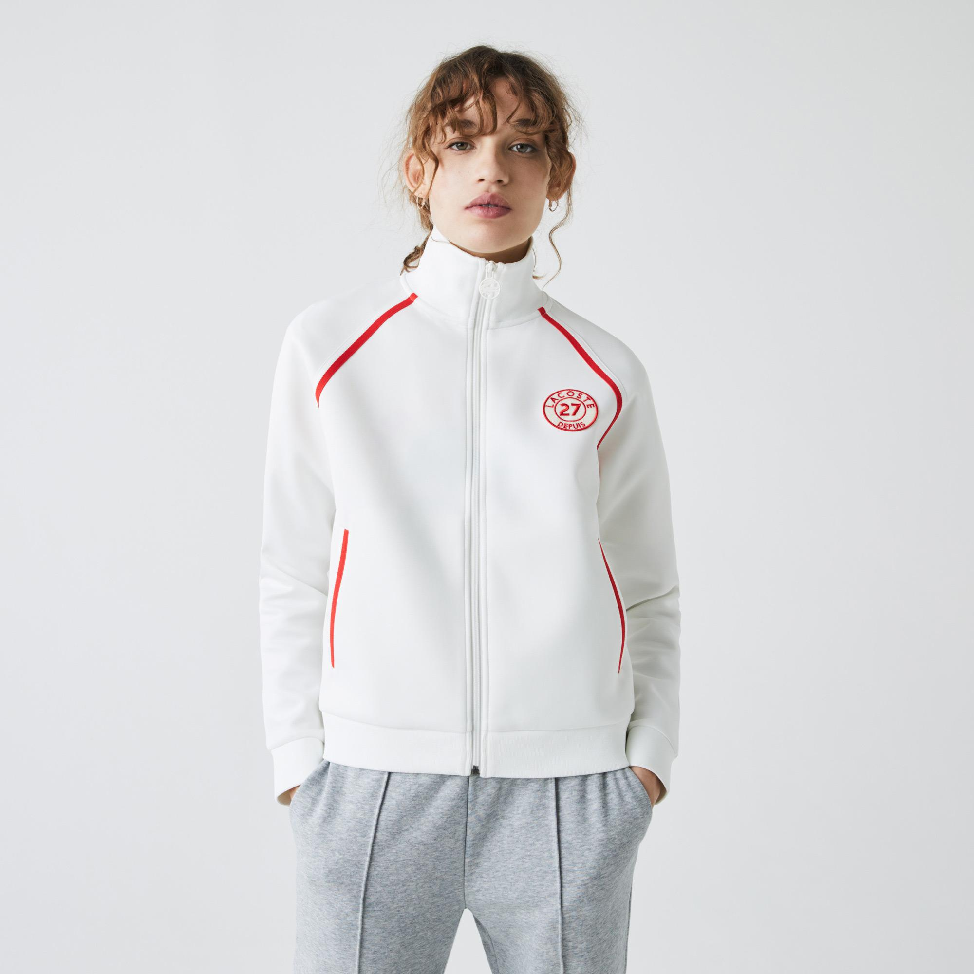 Lacoste Women's Stand-Up Collar Vintage Style Zip Sweatshirt