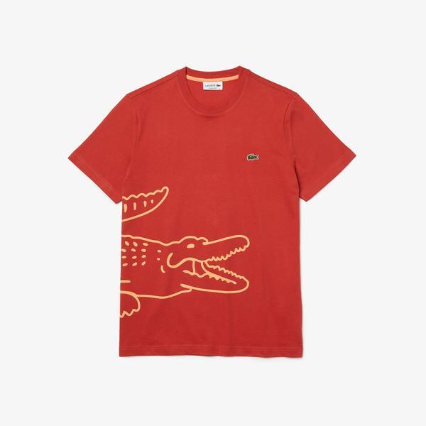 Lacoste Men's Crew Neck Crocodile Print Organic Cotton T-shirt