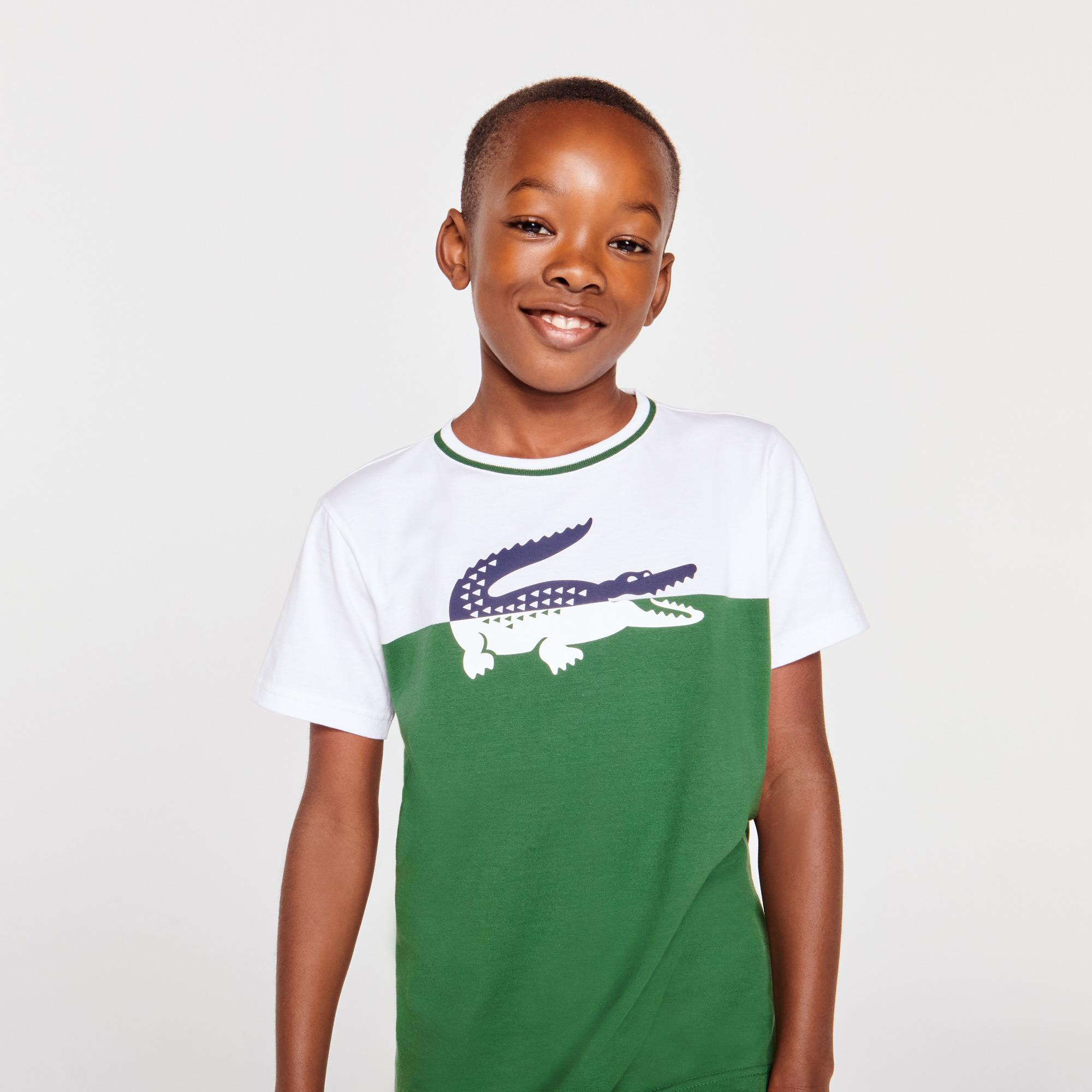 Lacoste Boys Crew Neck Crocodile Print Bicolor Cotton T-shirt
