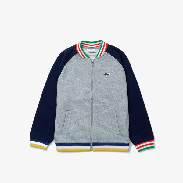 Lacoste Boys Bicolor Striped Accents Fleece Teddy Jacket