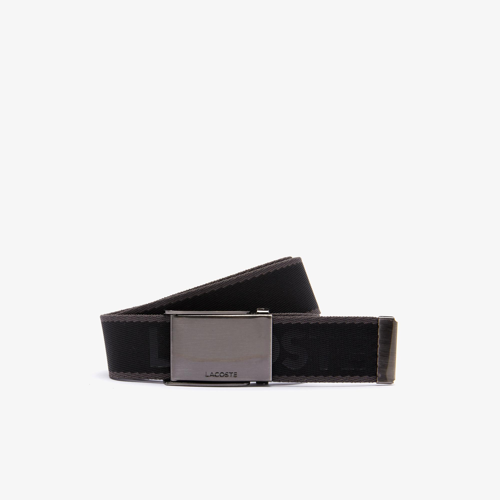 Lacoste Men's Engraved Plate Buckle Lettered Woven Belt