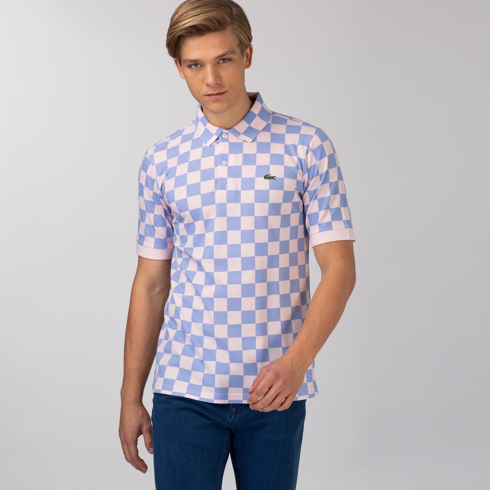 Lacoste Unisex LIVE Checkerboard Print Cotton Piqué Polo Shirt