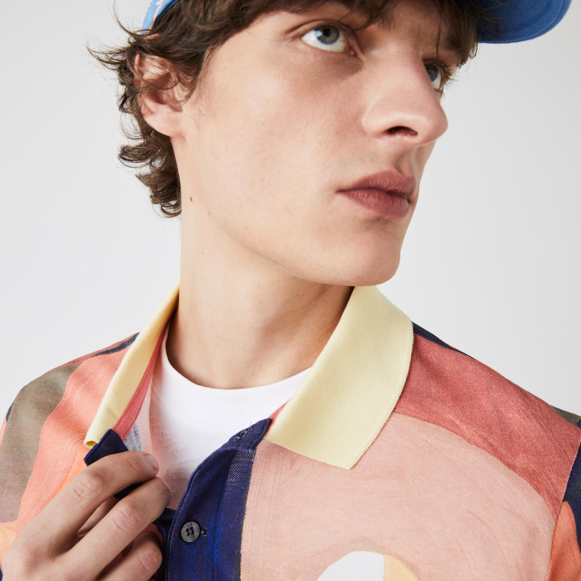 Lacoste Men's Regular Fit Paint Print Cotton Piqué Polo Shirt