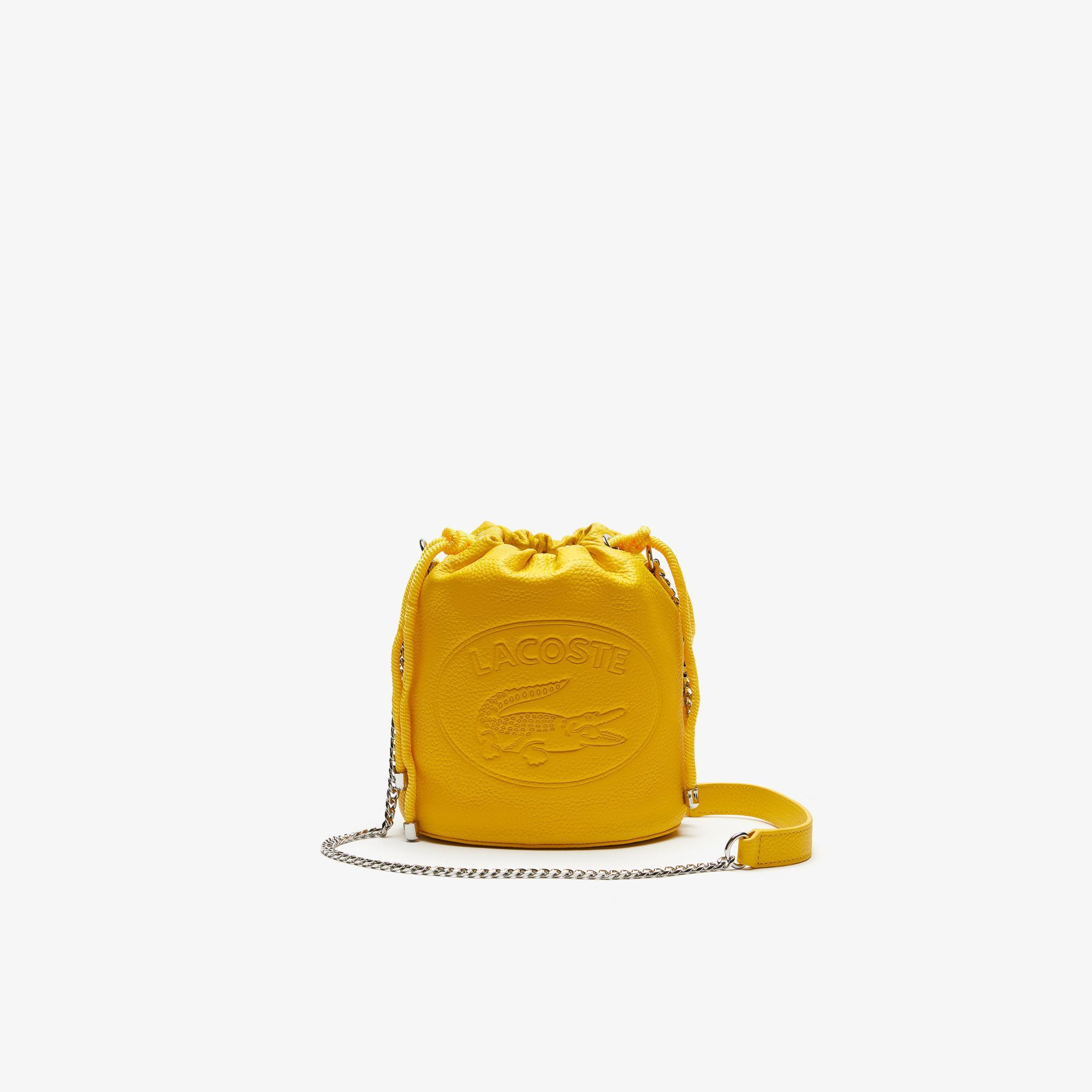 Lacoste Women's Croco Crew Grained Leather Bucket Bag