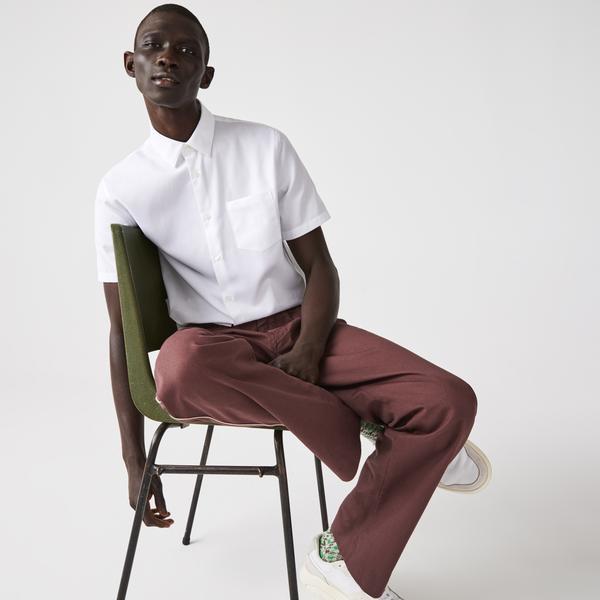 Lacoste Men's Regular Fit Piqué Cotton Poplin Shirt