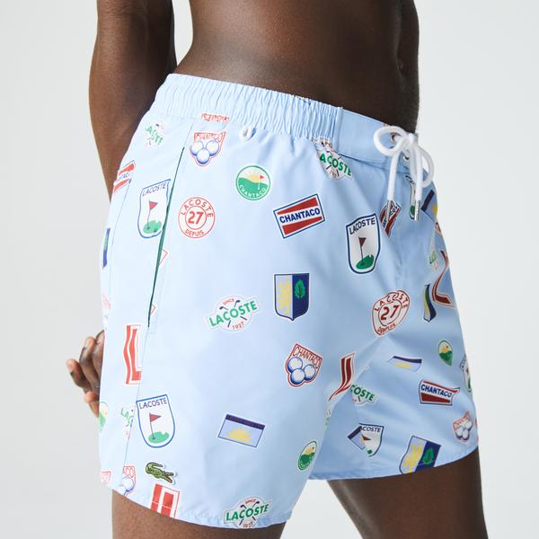 Lacoste Men's Lace-Up Waist Print Swimming Trunks