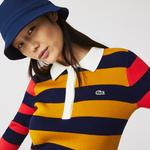 Lacoste Women's Fitted Striped Ribbed Mid-Length Polo Dress