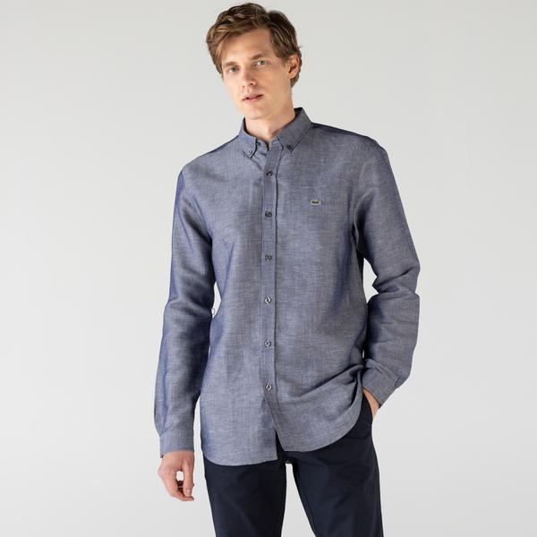 Lacoste Men's Long Sleeve Woven Shirt
