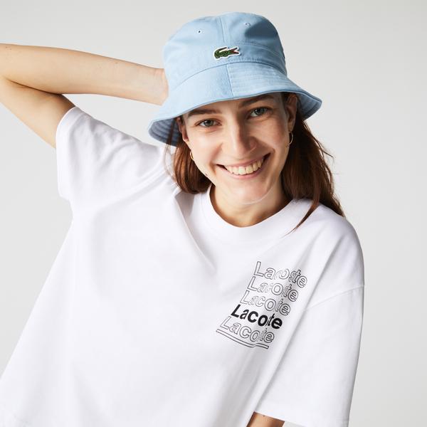 Lacoste Women's L!VE Crew Neck Loose Print Cotton T-shirt