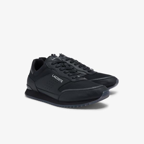 Lacoste Men's Partner Luxe Textile and Leather Sneakers