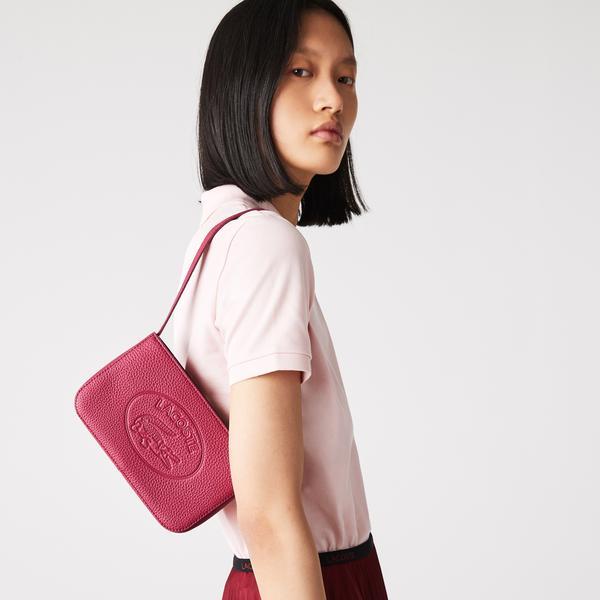 Lacoste Women's Croco Crew Grained Leather Baguette Bag