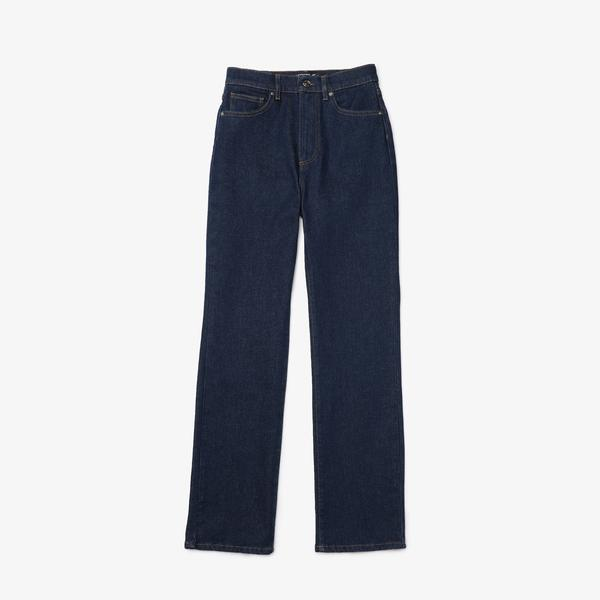 Lacoste Women's High-Waisted Flared Stretch Cotton Denim Jeans