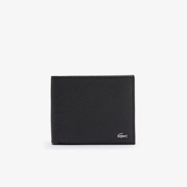 Lacoste Men's Crocodil Matte Grained Leather Horizontal Trifold Wallet
