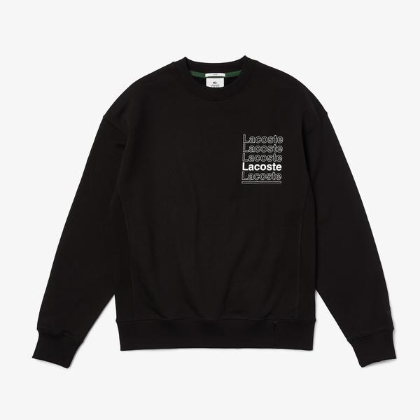 Men's Lacoste L!VE Loose Fit Crew Neck Print Fleece Sweatshirt
